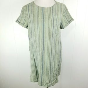 Cloth & Stone Size M Green Striped Front Pocket
